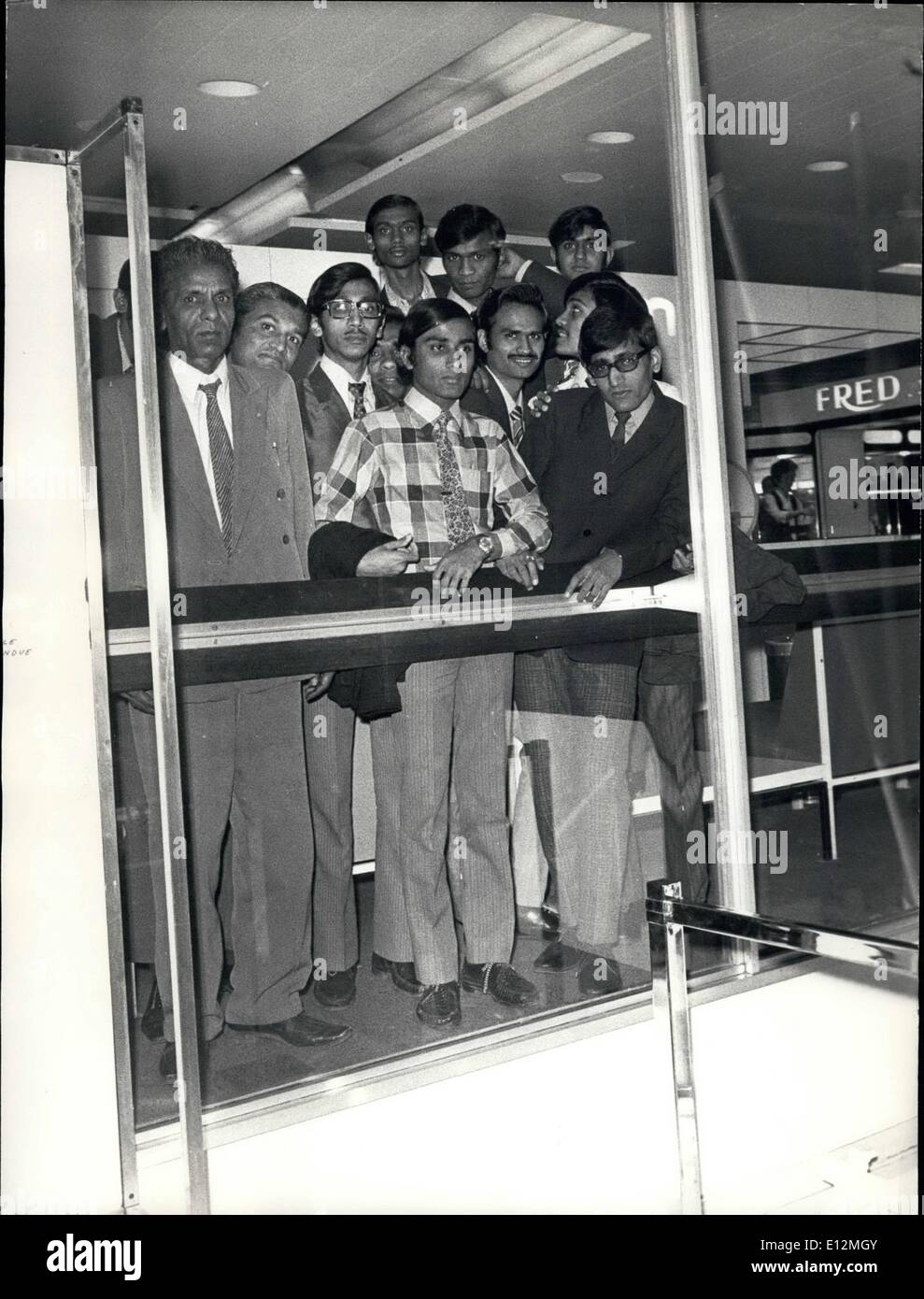 Feb. 24, 2012 - 30 Uganda Indians Blocked at Orly Airport: Over thirty Uganda Indians are waiting at Orly Airport where they arrived on April 12 for permission to enter the United Kingdom. Photo shows Uganda Indian Immigrants pictured at Orly Airport. - Stock Image