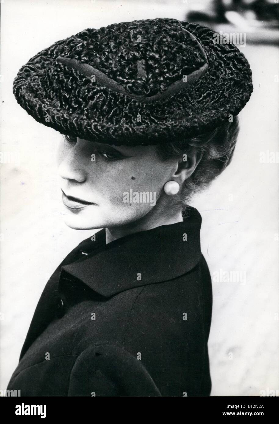 Feb. 24, 2012 - Astrakhan for Coming Winter HaT in grey graphite Astrakhan leant forward. Compulsory mention: Designed by Jacques Fath. - Stock Image