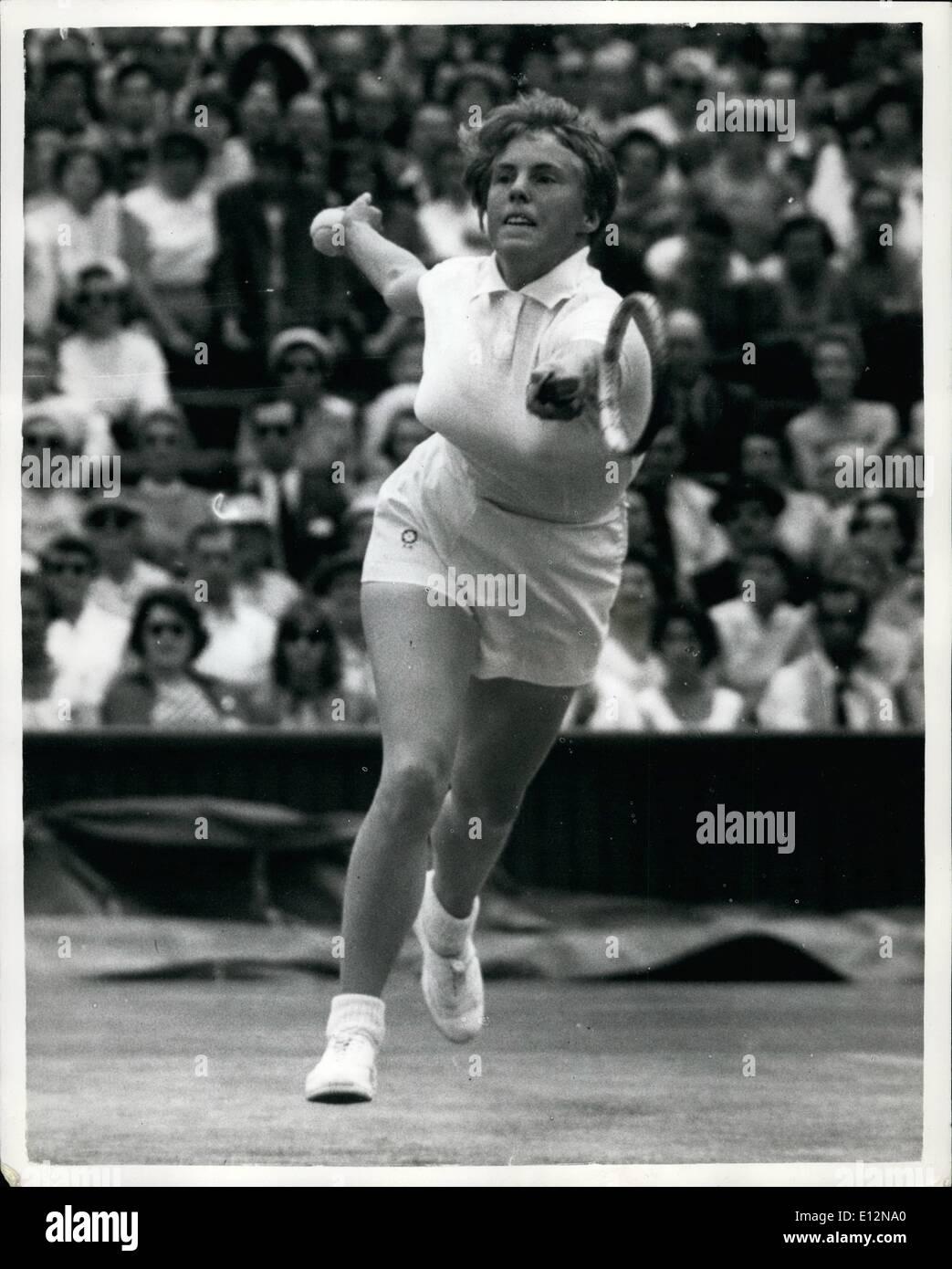 Feb. 24, 2012 - Women's Singles Semi-Final At Wimbledon. Ann Haydon V. Althea Gibson: Photo shows Miss Ann Haydon (G.B.), seen in play against Miss Althea Gibson (U.S.A.), during their ladies singles semi-final match at Wimbledon today. - Stock Image