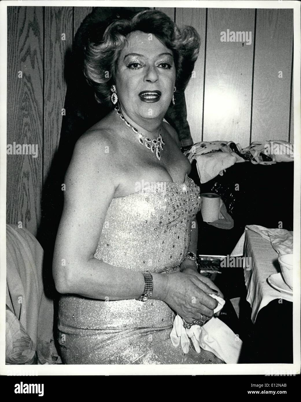 Feb. 24, 2012 - New York CIty--March 5, 1981--Backstage at ''Freddy's Cabaret'' on east 49st. Cristine Jorgensen prepares for her nightly club act. - Stock Image