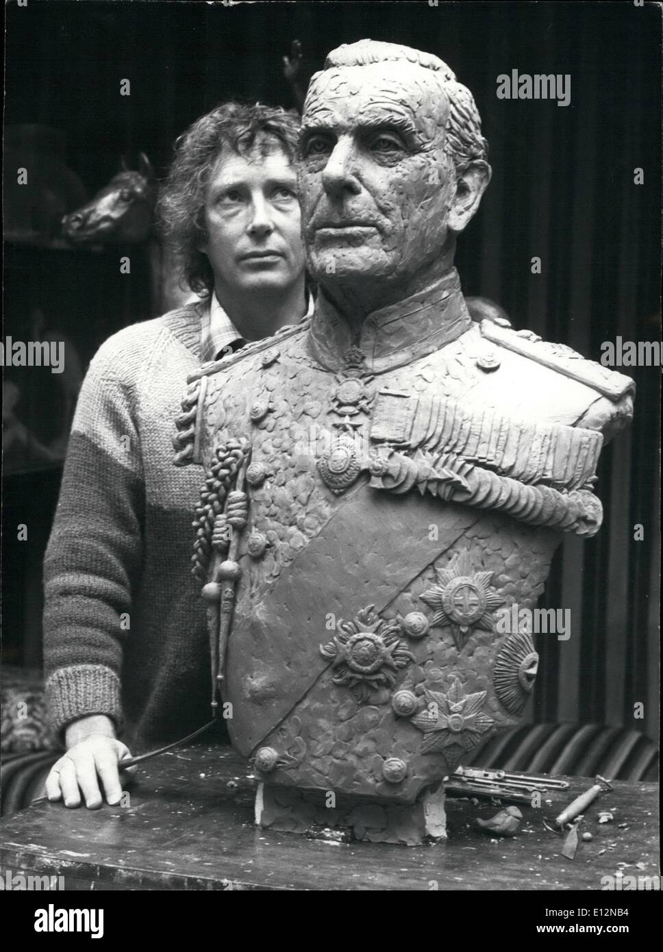 Feb. 24, 2012 - Lord Louis takes shape in Bronze. The late Lord Mountbatten is to have his features immortalized Stock Photo