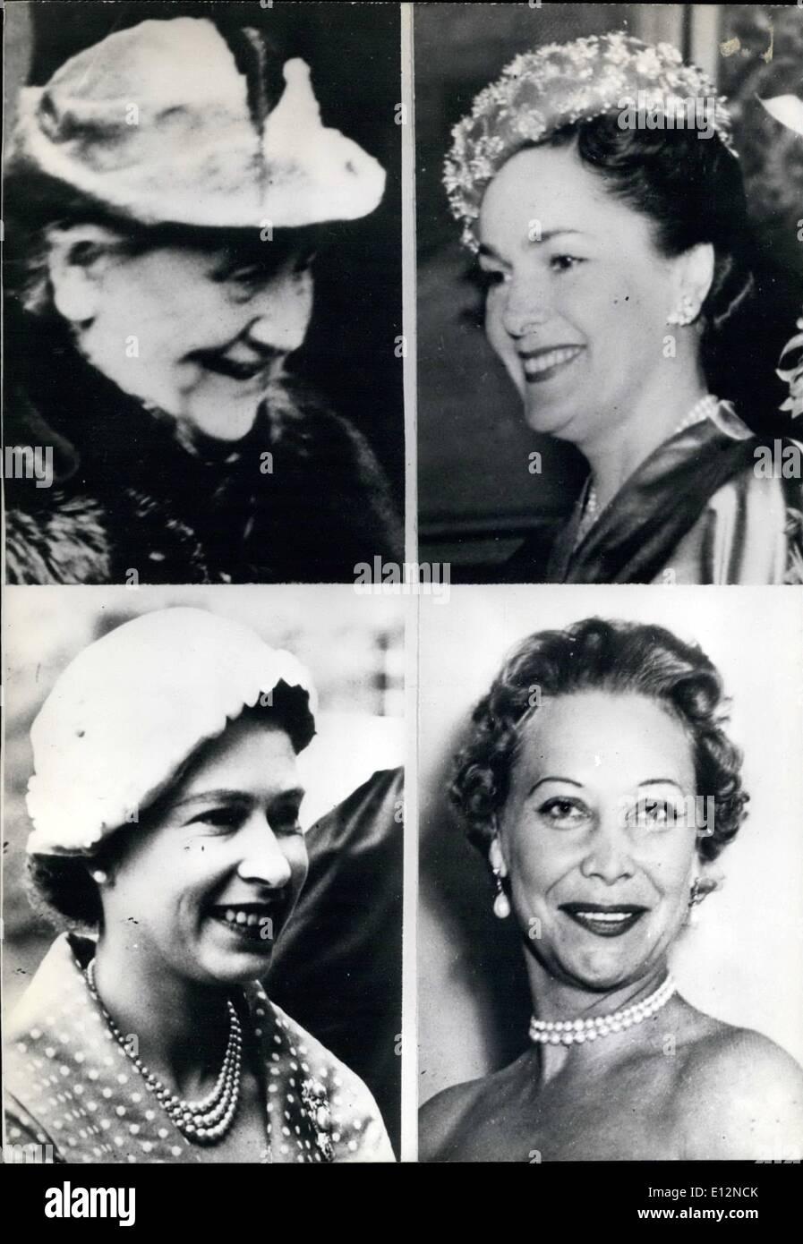 Feb. 24, 2012 - Top: Ex-Queen Wilhelmina of Holland, Begum Om Habibeh Aga Khan. Bottom: Queen Elizabeth II of England, Suzanne Volterra. - Stock Image