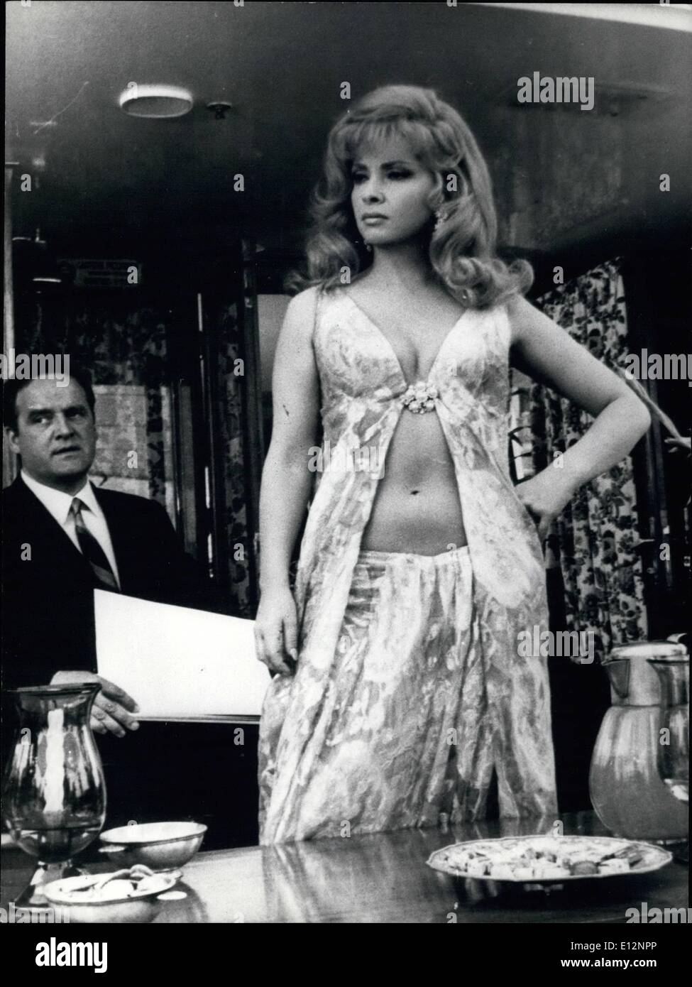 Feb. 24, 2012 - Rome IO Lugilo 1968 : Seducent actress Gina Lollobrigida playing the role of a millionaire business woman in the film '' Stuntman'' that is turned now in Rome. OPS Gina Lollobrigida wearing a fine dress in a scene of the film. - Stock Image