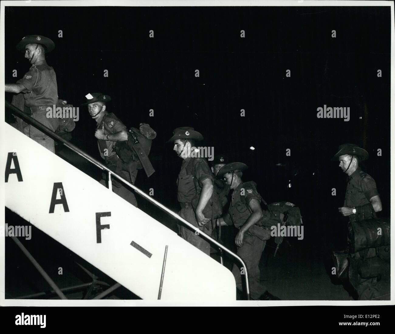 Feb. 24, 2012 - There were many demonstration when Australian National Servicemen were sent to fight in South Vietnam Picture shows some of them boarding an aircraft for South Vietnam. - Stock Image