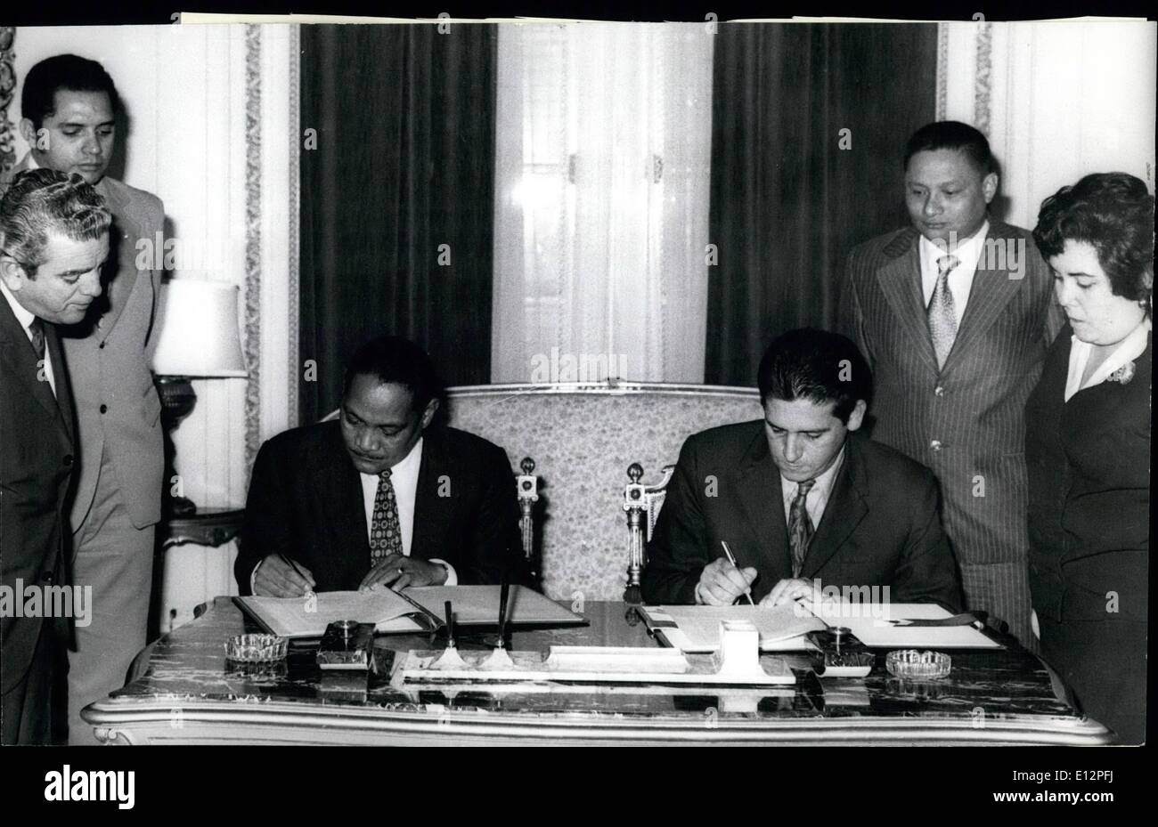 Feb. 24, 2012 - The agreement by which restitution has been made to the Panamanian government of the pirate ships, ''Johnny Express'' and ''Layla Express'', captured in 1971 by the Cuban Revolutionary government was formally signed on December 19 in Cuba's Ministry of Foreign Relations. These ships were used by the U.S. CIA to perpetrate armed actions and to infiltrate agents into Cuban territory, without the knowledge of the Panamanian government, under whose flag they effected their operations - Stock Image
