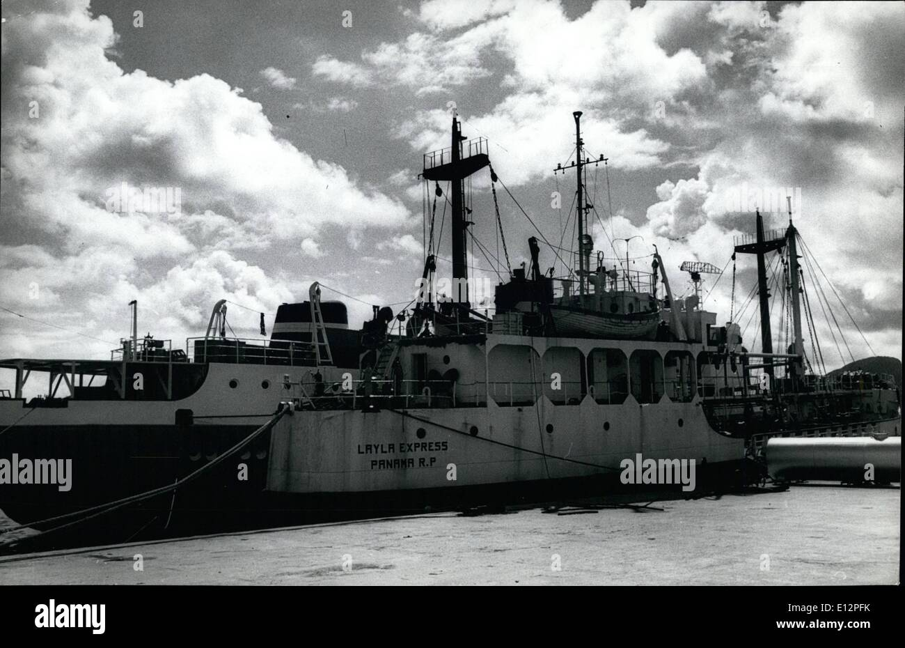 Feb. 24, 2012 - Panama is handed back Pirate ships captured in Cuba: The agreement by which restitution has been made to the Panamanian government of the pirate ships, ''Johnny Express'' and ''Layly Express'', captured in 1971 by the Cuban Revolutionary government was formally signed on December 19 in Cuba's Ministry of Foreign Relations. These ships were used by the U.S. CIA to perpetrate armed actions and to infiltrate agents into Cuban territory, without the knowledge of the Panamanian government, under whose flag they effected their operations - Stock Image