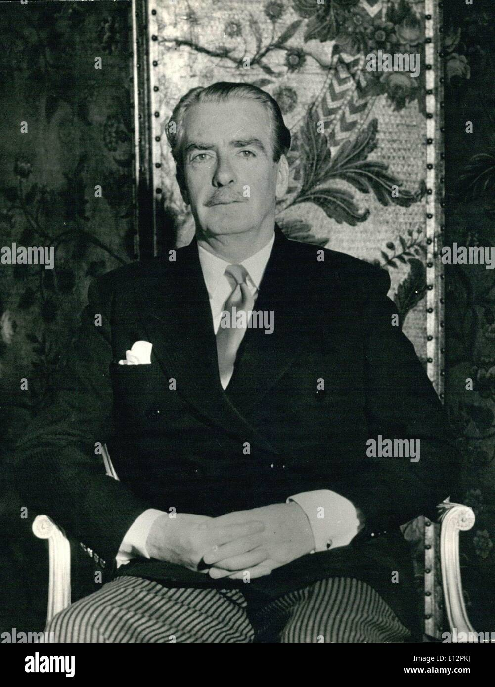 Feb. 24, 2012 - The Rt. Hon Sir Anthony Eden KG. MC. MP The Foreign Secretary and probable successor to Sir Winston Churchill, photographed at his official residence in Carlton House Terrace. - Stock Image