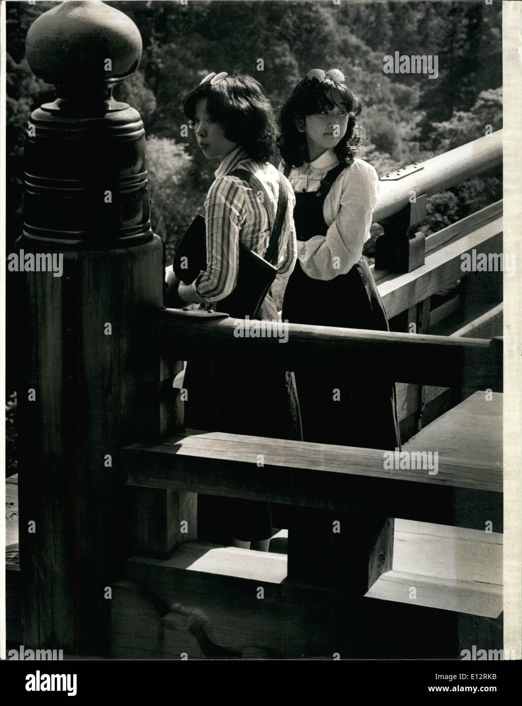 Feb. 25, 2012 - April 1975, Kyoto, Japan – Japanese students visiting an ancient shrine in Kyoto., Japan. : - Stock Image