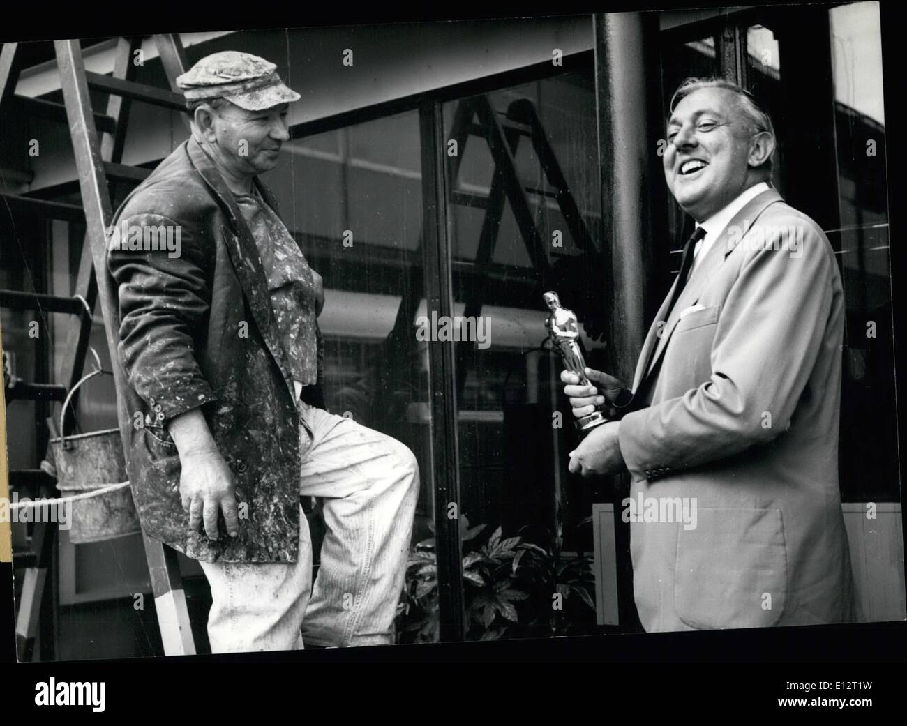 Feb. 24, 2012 - French Actor Jacques Tati Back to Paris. French actor Jacques Tati who received the Oscar of the best film ''Mt - Stock Image