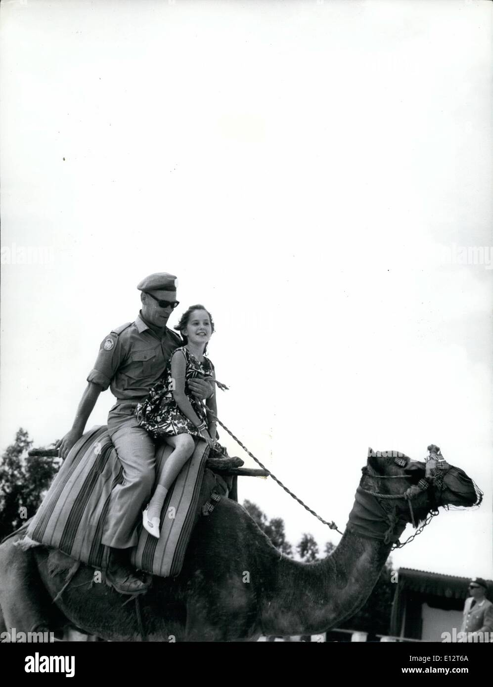 Feb. 25, 2012 - In Gaza Cairo there ample kinds of amusements  visits to the Pyramids and the Sphinx, as camel rides - the letter is very popular the youngest. Norvegian member of UN troops in Gaza with daughter riding Camel. - Stock Image