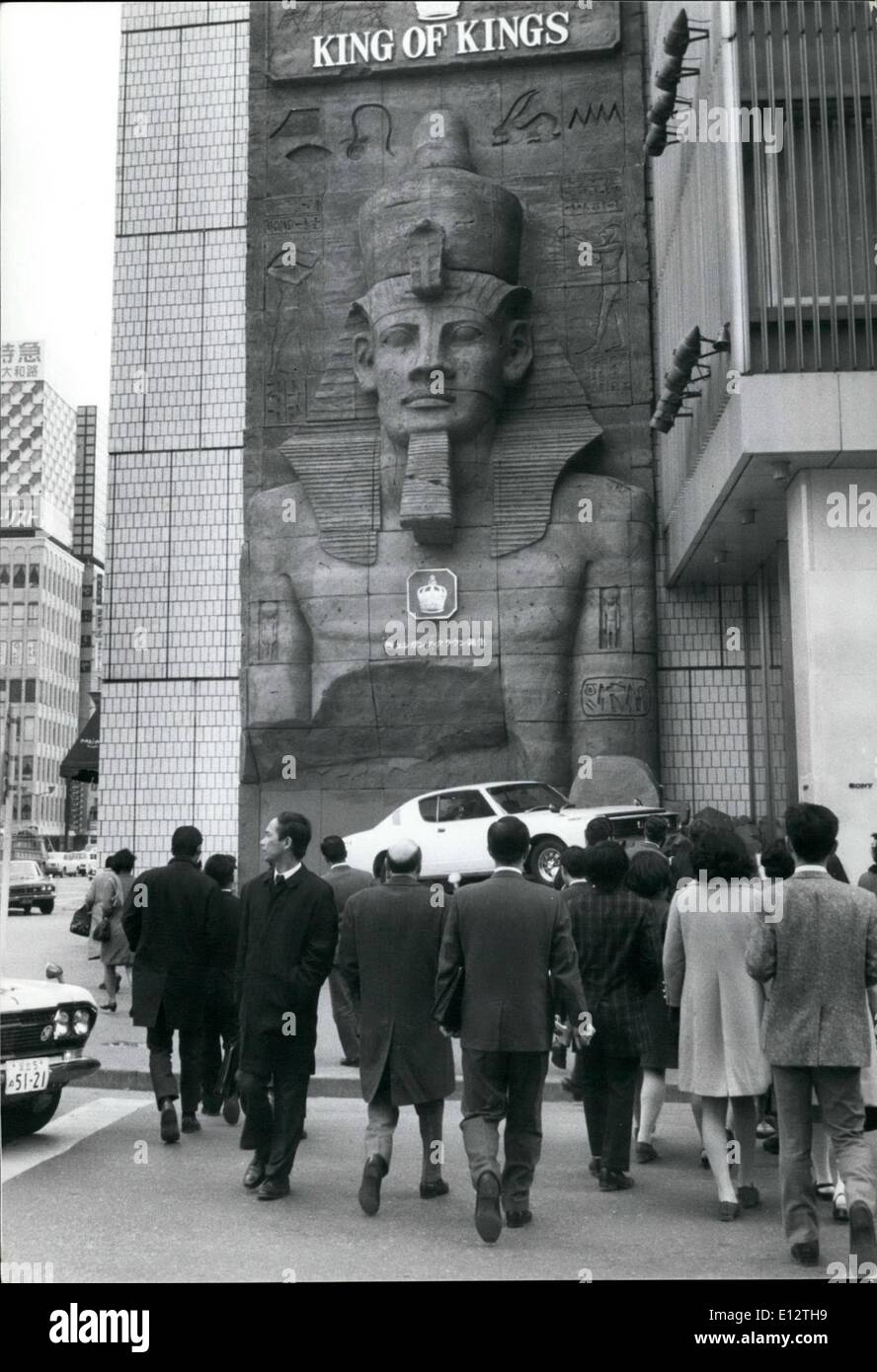 Feb. 25, 2012 - King ''Tut'' in Tokyo; A huge replica of the ancient Egyptian Pharaoh Tut anak-amen, has been built on the wall - Stock Image