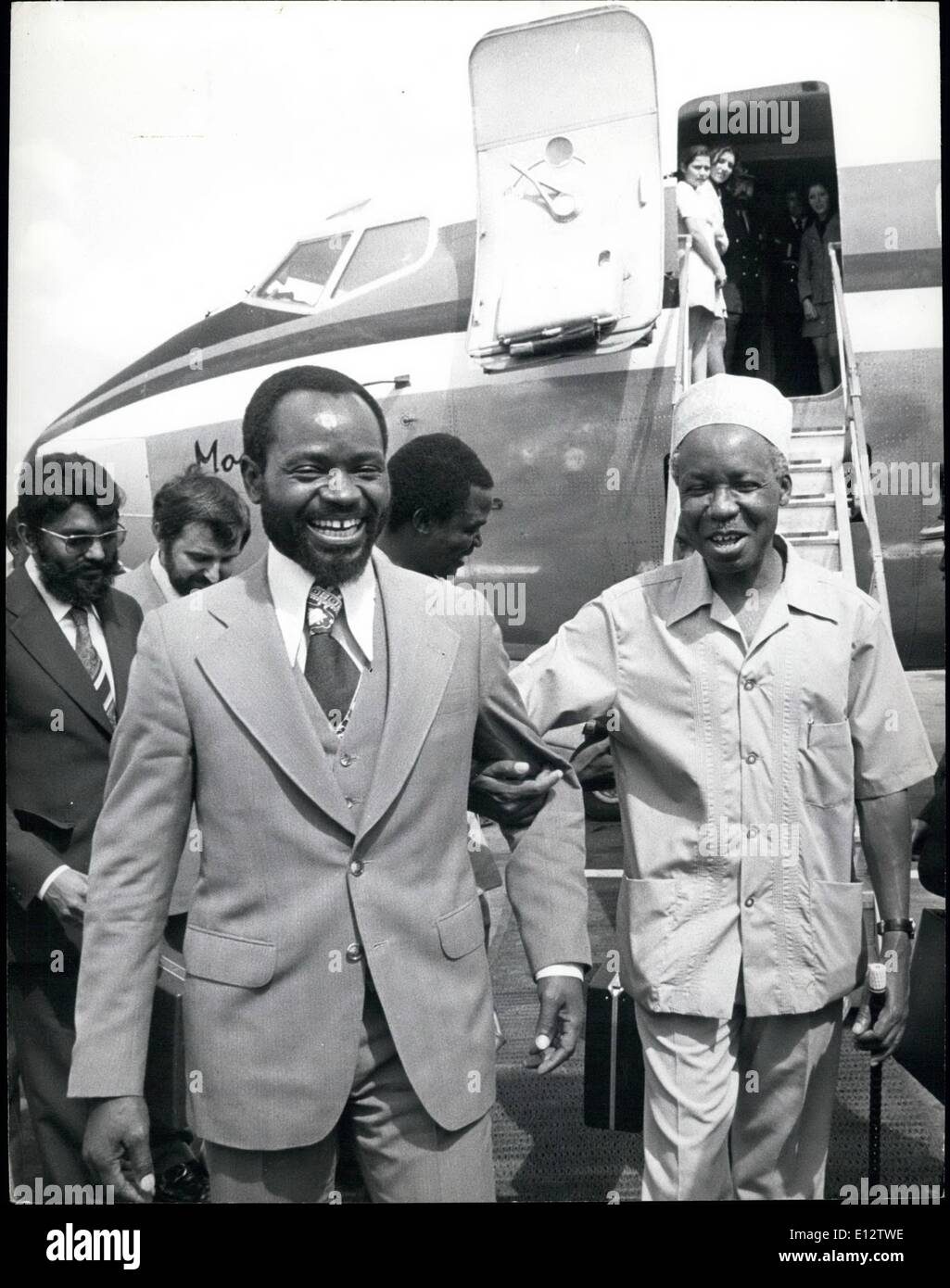 Feb. 24, 2012 - President Samora Machel (left) of neighboring Mozambique and President Julius Nyerere of Tanzania meet in the Tanzanian capital of Dar es Salaam recently to discuss Angola and other matters ''of mutual interest.'' Credits: Camerapixq - Stock Image