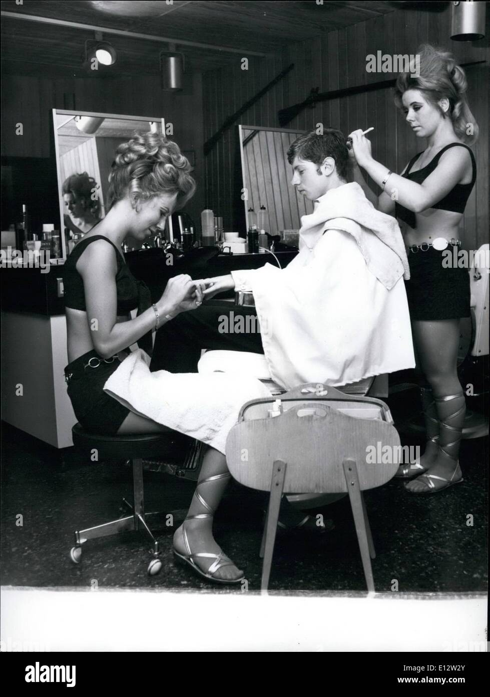 Feb. 25, 2012 - A trim and manicure at Samson and Delilah, London's swinging hairdressing establishment for men certainly is a pleasure. - Stock Image