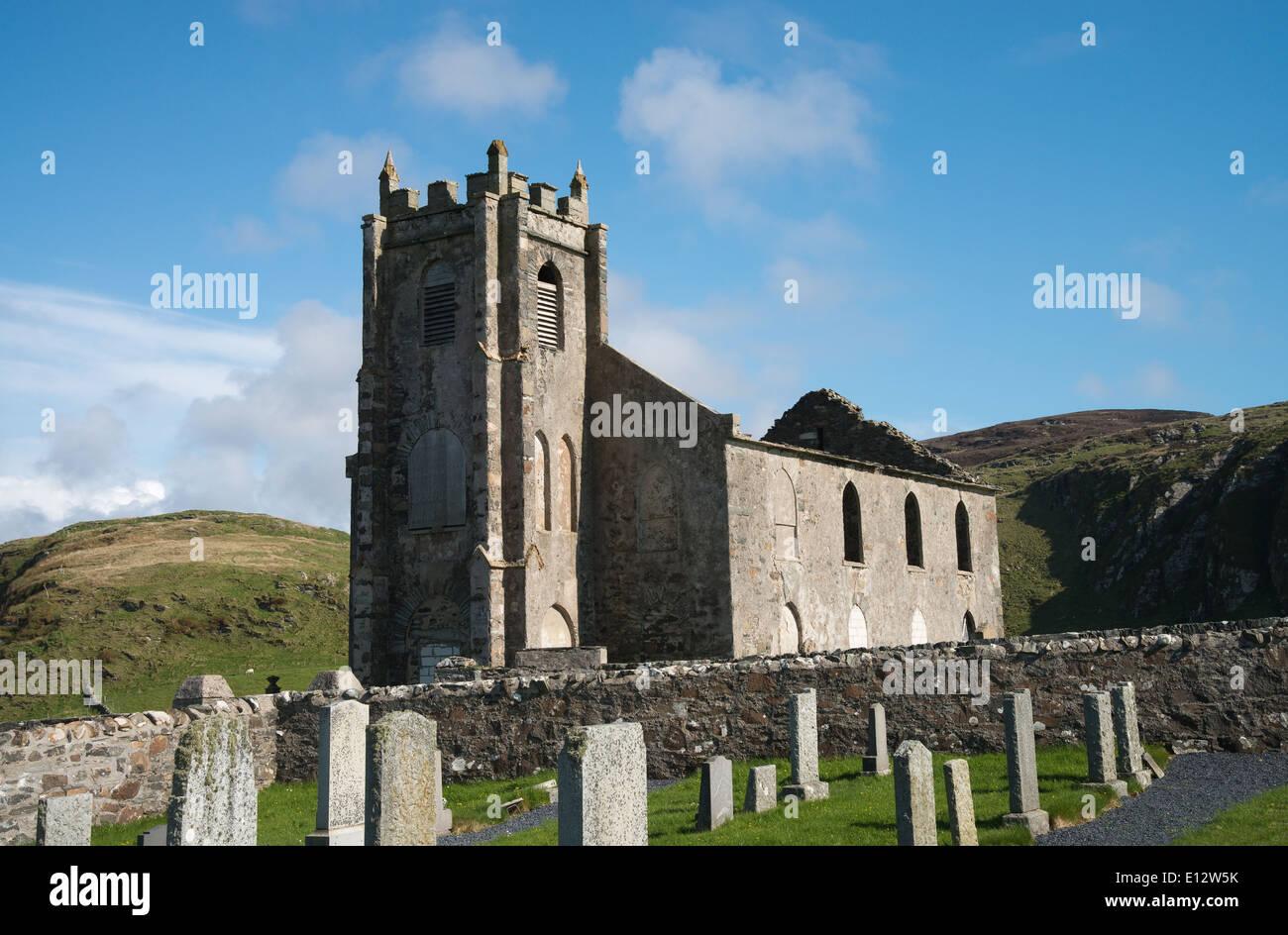 Ruins of Kilchoman Old Parish Church, Islay, Scotland -1 - Stock Image