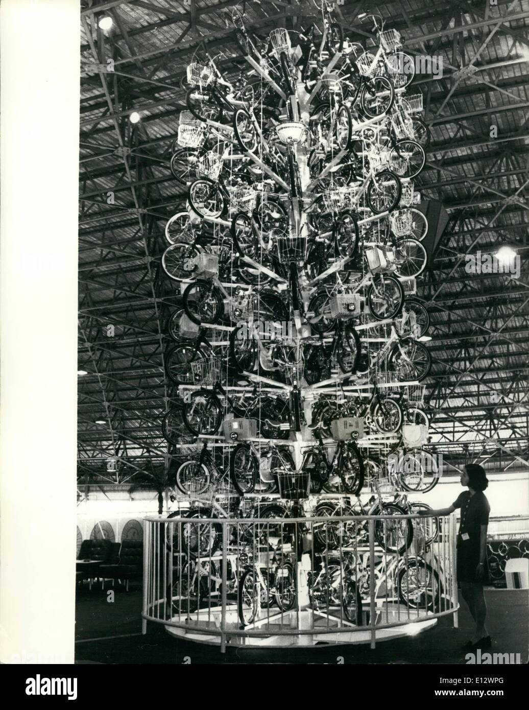 Feb. 26, 2012 - Bicycle ''Tree'' in Tokyo: Japanese-made bicycles are formed into the shape of a tree at the 9th International Trade Fair currently in progress in Tokyo. The Bicycles will be given away as prizes when the Fair closes. - Stock Image