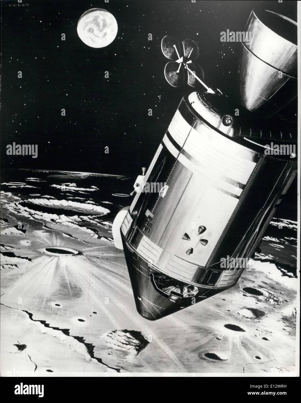 Feb. 26, 2012 - Apollo 8 Moon flight; Photo Shows An artist's concept shows the Apollo 8 spacecraft as it orbits the Moon. During the mission, A. Anders, Lunar module (LM) pilot, and James A. Lovell, Command Module (CM) Pilot -will photograph the Moon's surface and make landmark sightings and other observations. Space Center on December 21, and is due to go into orbit round the moon on Christmas Eve. - Stock Image