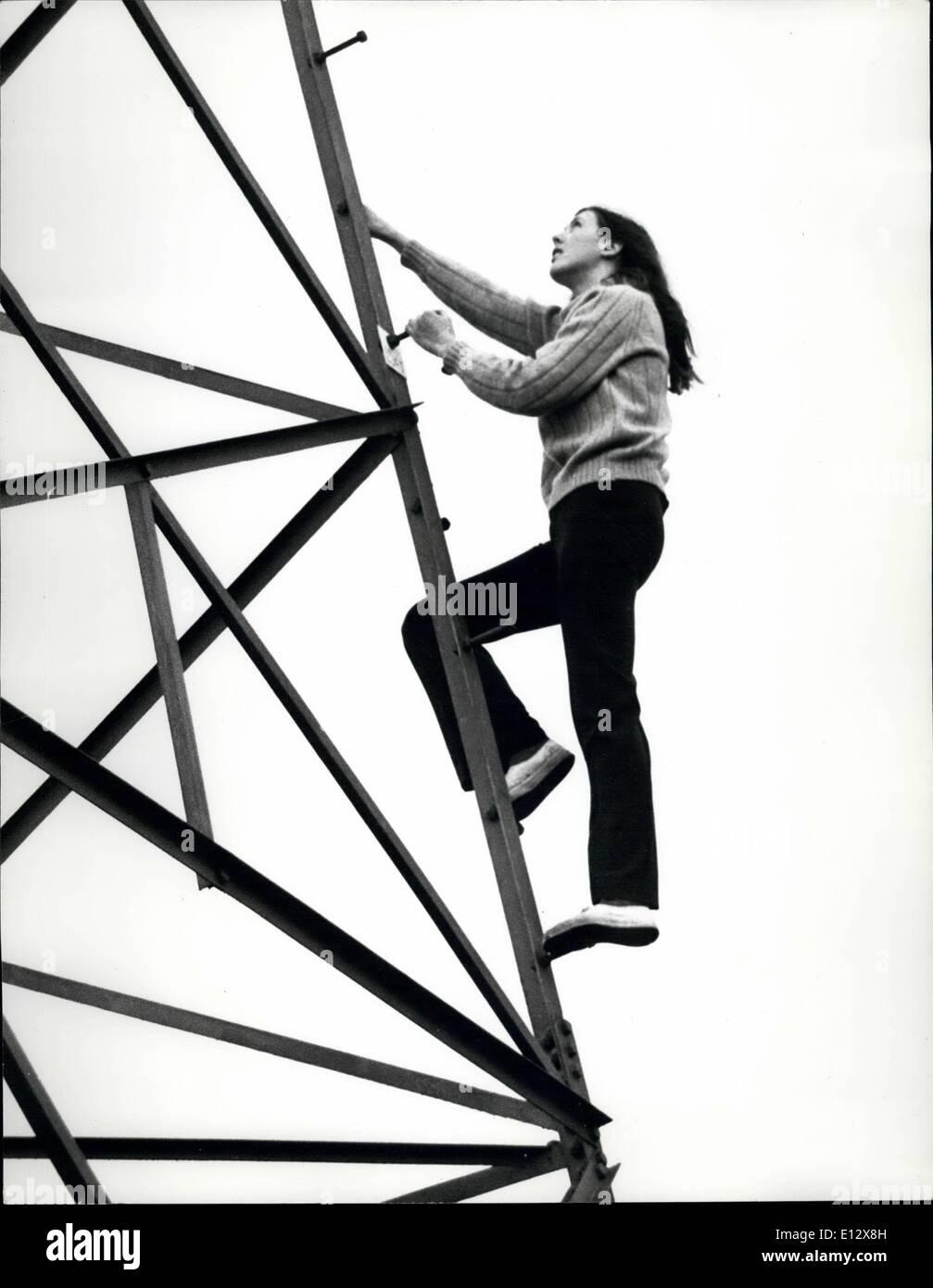 Feb. 25, 2012 - Celia Marr climbs the pylon in the garden - Stock Image