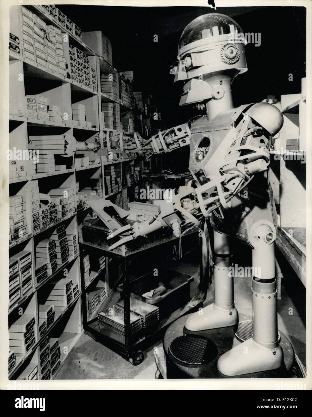 Feb. 26, 2012 - ''Cargo'' - The newest Mechanical Man He can even play ch: Cargo - a mechanical man - recently ''born'' in a - Stock Image
