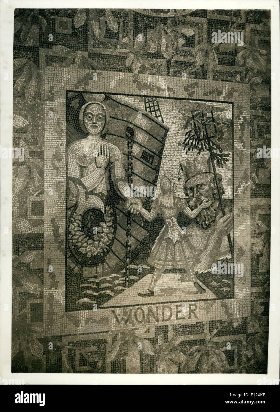 Feb. 26, 2012 - Wonder: a figurehead invites Alive to embark on new adventures, while Neptune is offering her gifts from the son. Neptune is Augustus John. one of the panels of the mosaic floor. - Stock Image