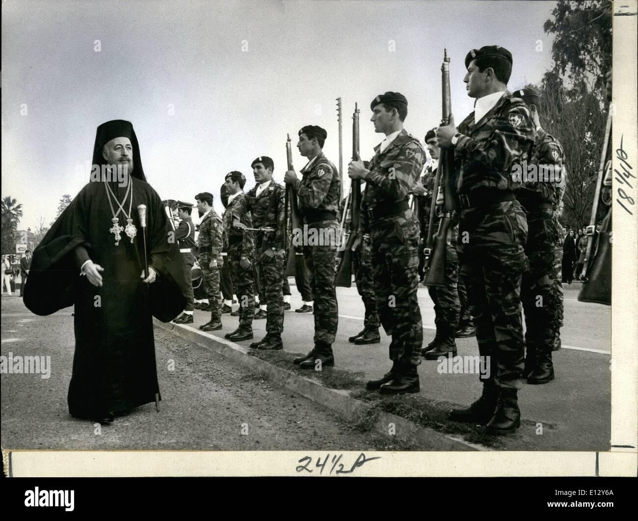 Feb. 25, 2012 - Makarios and Cypriote National Guard, 1973. - Stock Image