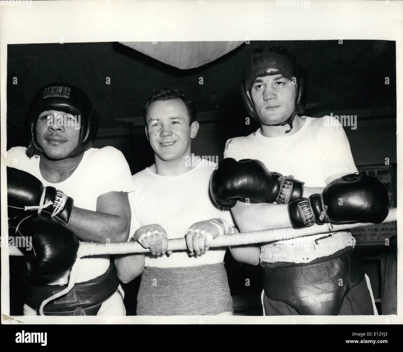 Feb. 25, 2012 - Three Boxing stars in Training Pompey- McCarthy and Lazar. Three stars of the Boxing ring - seen at the Thomas A' Beckett Gymnasium , Old kent road where they are in training for forthcoming contests... They are L-R:- Yolande Pompey from Trinidad who meets Archie Moore the world Cruiser weight champion at Harringay in March; Sammy McCarthy who meets holder of the British light weight title Frank Johnson at the Royal Albert Hall on January 24th - Stock Image