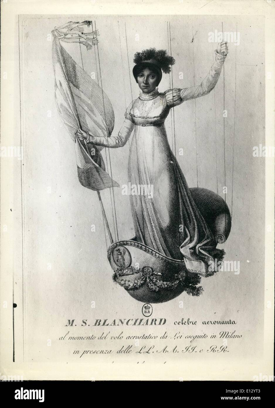Feb. 26, 2012 - the Beginning Of the Aerostation: Marie Madeleine Sophie Armant, wife of the famous aeronaut Blanchard during an ascension. She was killed on July 1819 while attempting an ascension during the night. - Stock Image