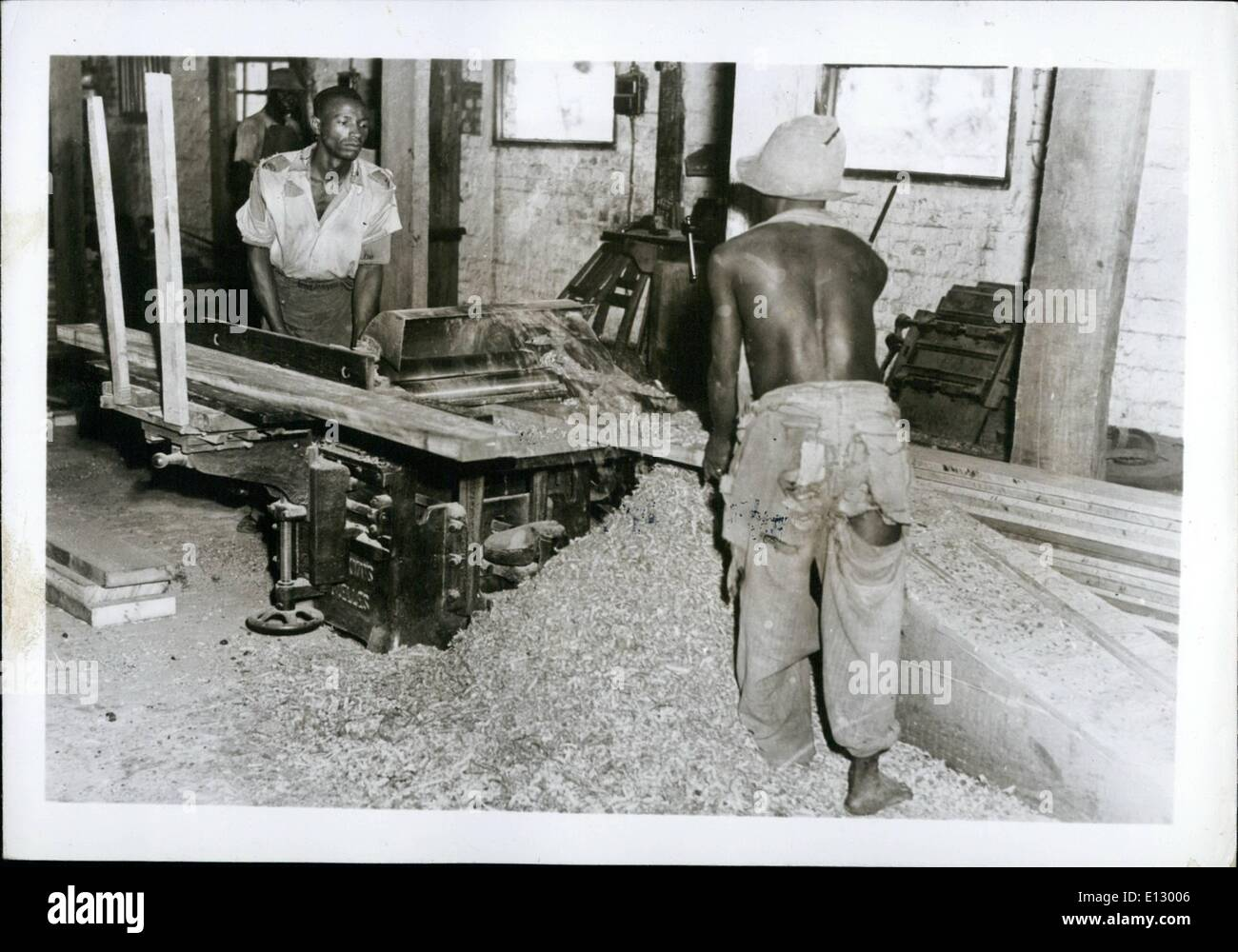 Feb. 25, 2012 - Congo, Industries Vol.2, Leopoldville: Carpentry Boury. Planing by machine. - Stock Image