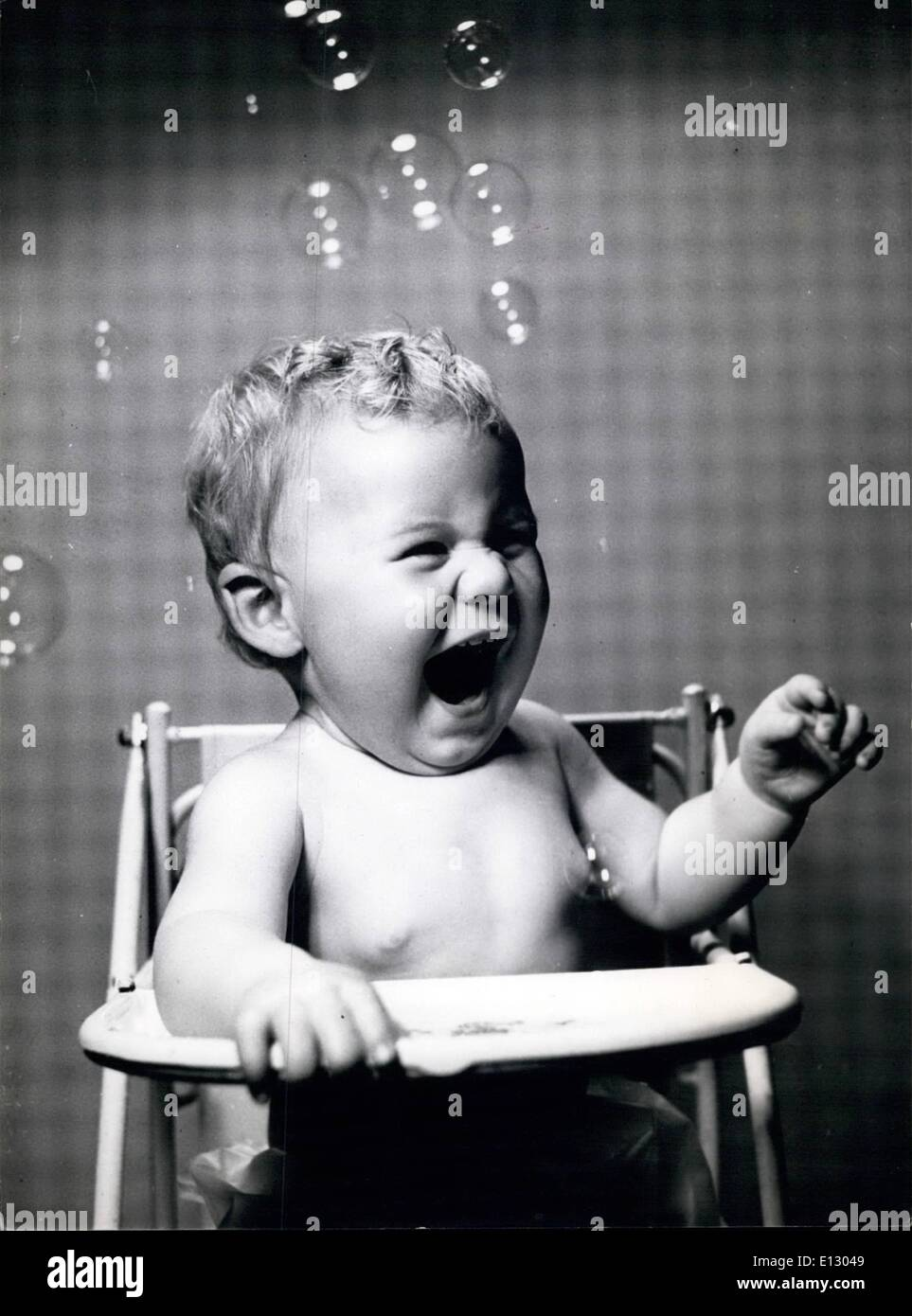 Feb. 26, 2012 - Susan roars with laughter, as the coloured bubbles float round her head and tickle her nose. - Stock Image