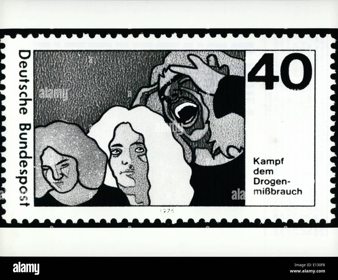 Feb. 26, 2012 - Special stamps of the Federal German Post against misuse of drugs. Fight against misuse of drugs says the printing on the special stamps of the Federal post, which will be released on August 14th, 1975. With these stamps the post makes its contribution to the campaign of the Federal Government against misuses of drugs and dope. The three heads on the stamp picture in succession the psychological standard situations of a typical drug user. - Stock Image