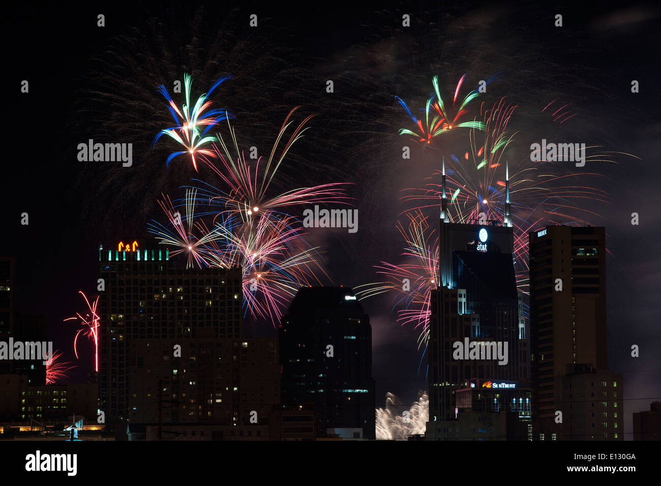 Fourth of July celebration with  fireworks over the Nashville Skyline Stock Photo