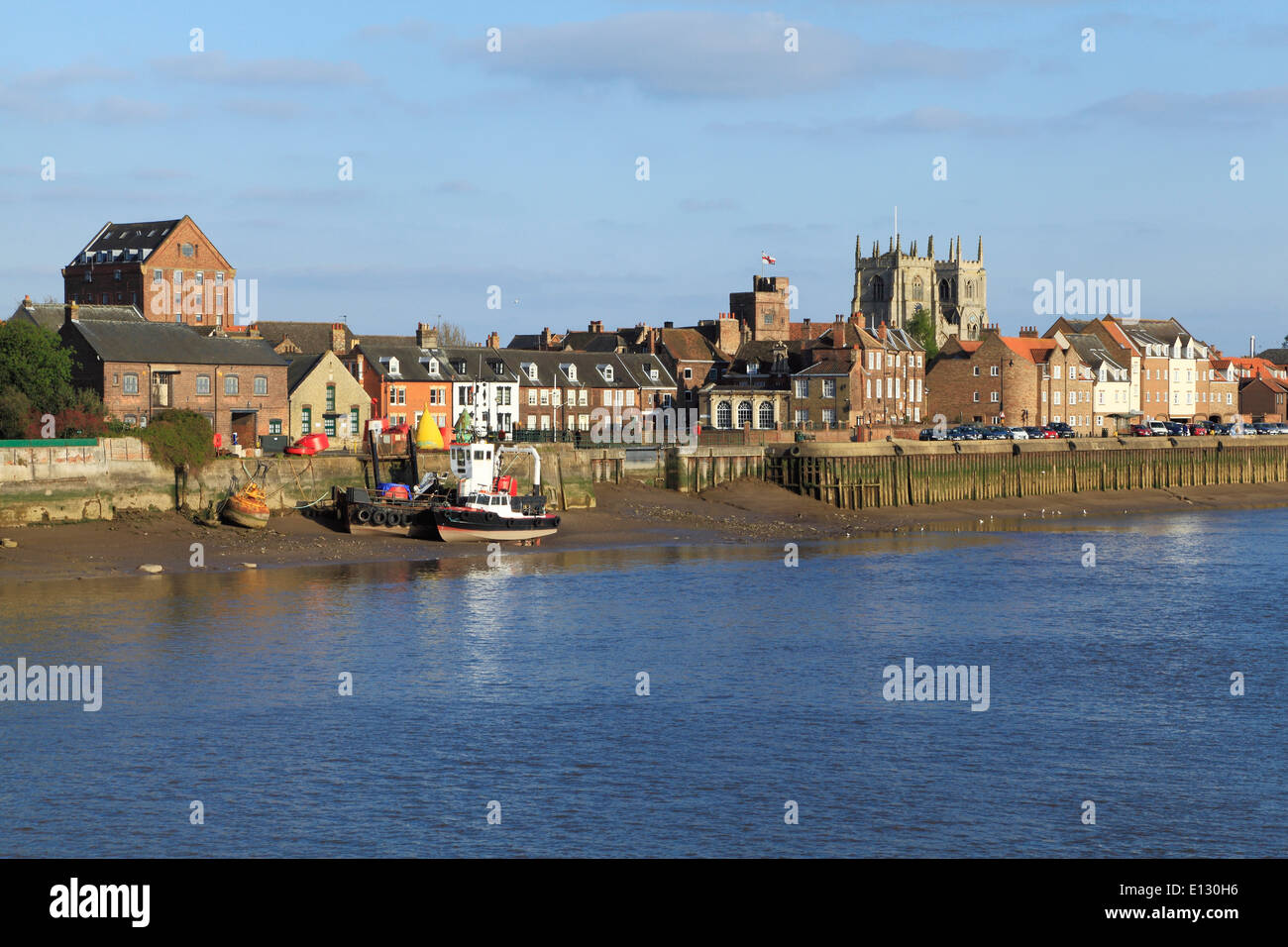 Kings Lynn, Quayside, Town, Norfolk, view across River Ouse from West Lynn England UK panoramic panorama - Stock Image