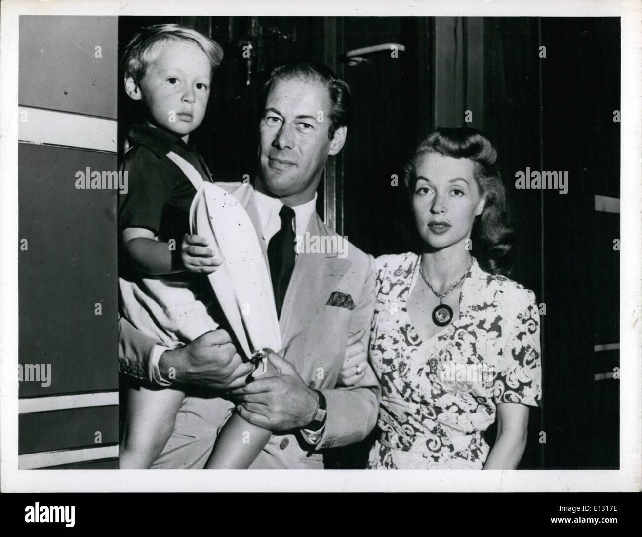 Feb. 26, 2012 - Rex Harrison, Lili Palmer and child - Stock Image