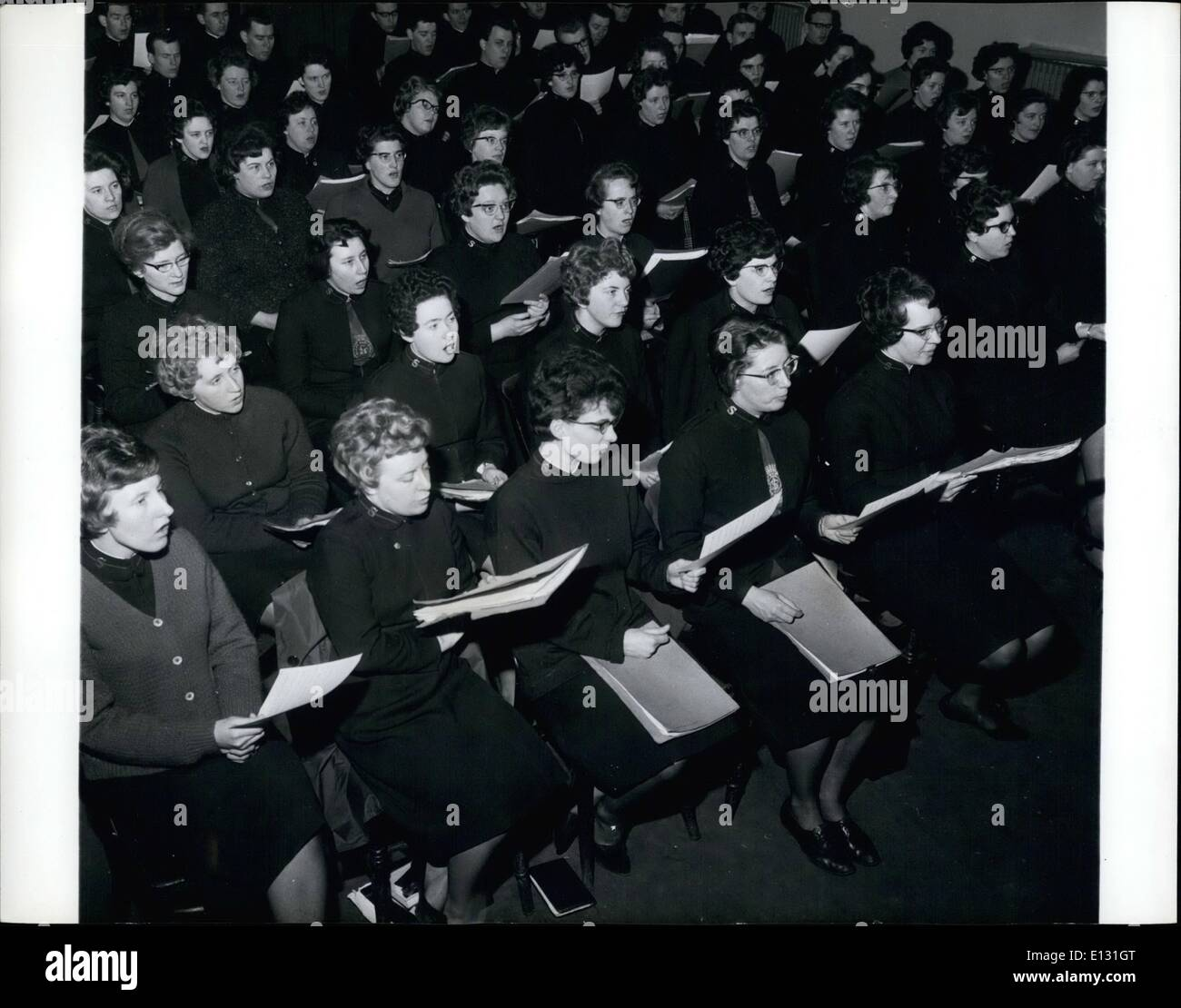 Feb. 26, 2012 - Hymn singing in the Assembly Hall of the Salvation Army's training college in London. - Stock Image