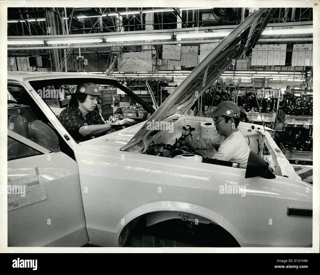 Feb. 26, 2012 - Tuesday, April 10th, 1979. Nissan Motors Oppama Plant, Oppama, Japan. Nissan Motor Co. Ltd. produces Stock Photo