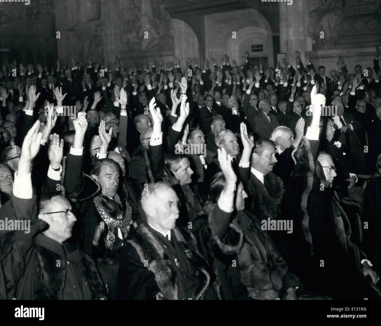 Feb. 26, 2012 - Election Of Sheriffs: The Livery men of the City of London assembled today in the Common Hall to appoint among themselves two sheriffs. There were three candidates and a poll was demanded. Photo shows Hands rainsed by the Livery men during the voting. - Stock Image