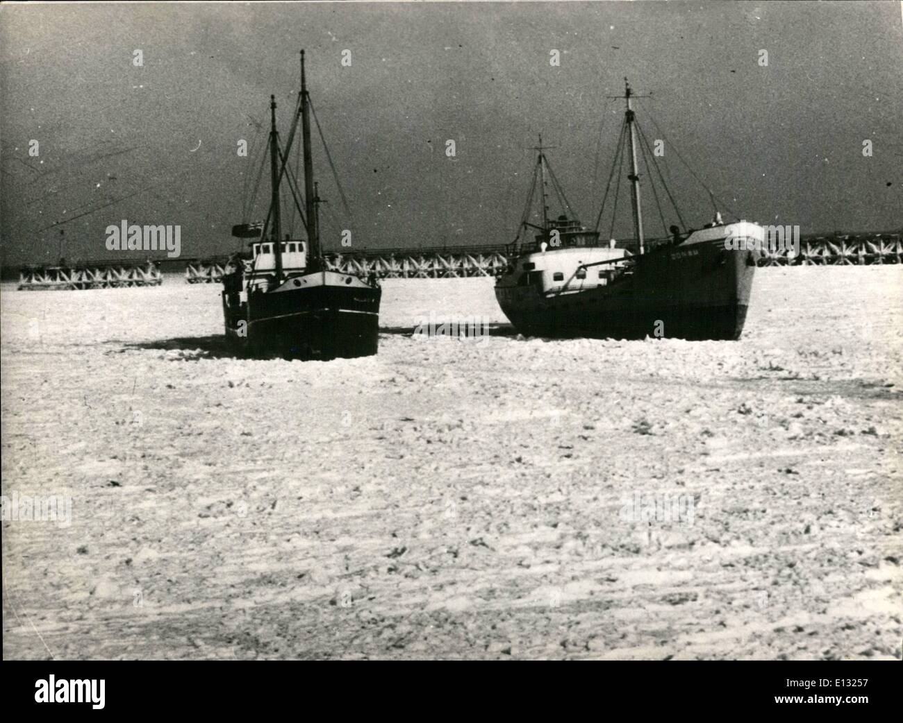Feb. 26, 2012 - Sea frozen over in Dunkirk Harbour – Two ships ice-bound in the Dunkirk Harbour yesterday. Stock Photo
