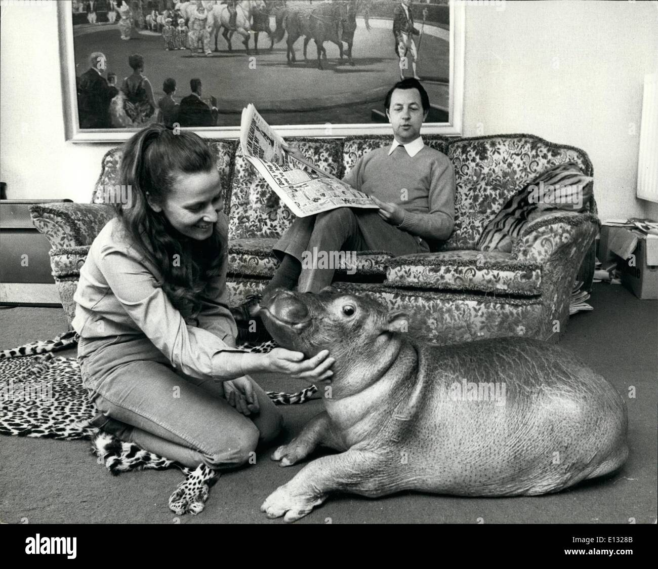 Feb. 26, 2012 - A hippo in the house. Most women will put up with their children bringin home strange faces and Stock Photo