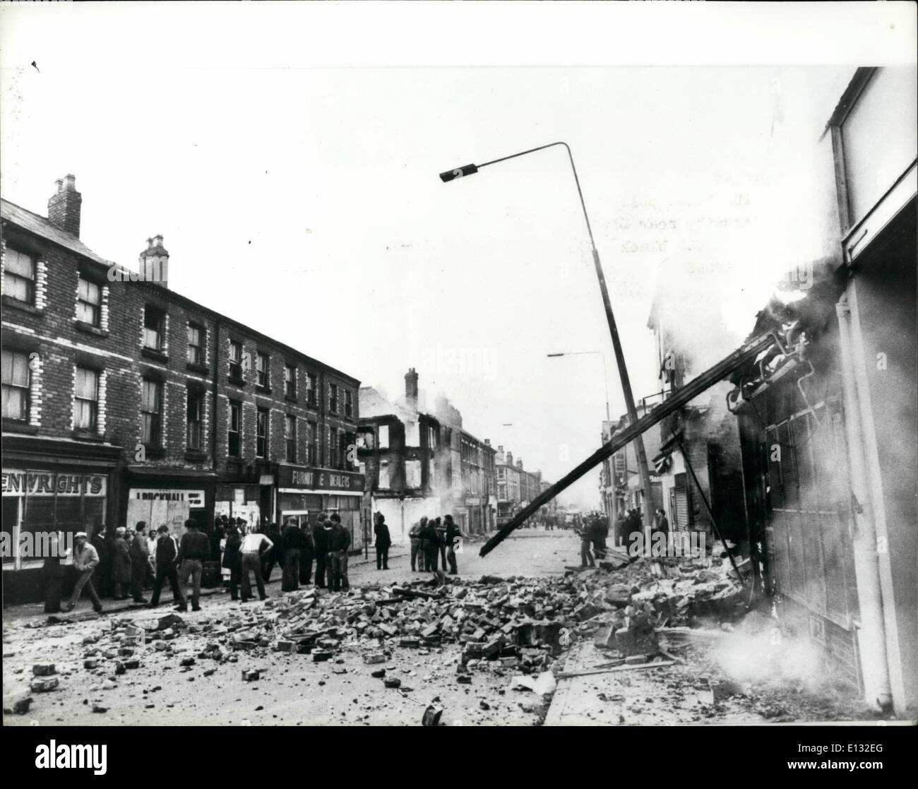 Feb. 26, 2012 - Riots In Toxteth: A riot-torn street in Toxteth after a night of rioting by about 400 black and whit youths it reminded the locas after a night in the blitz during the last war. - Stock Image