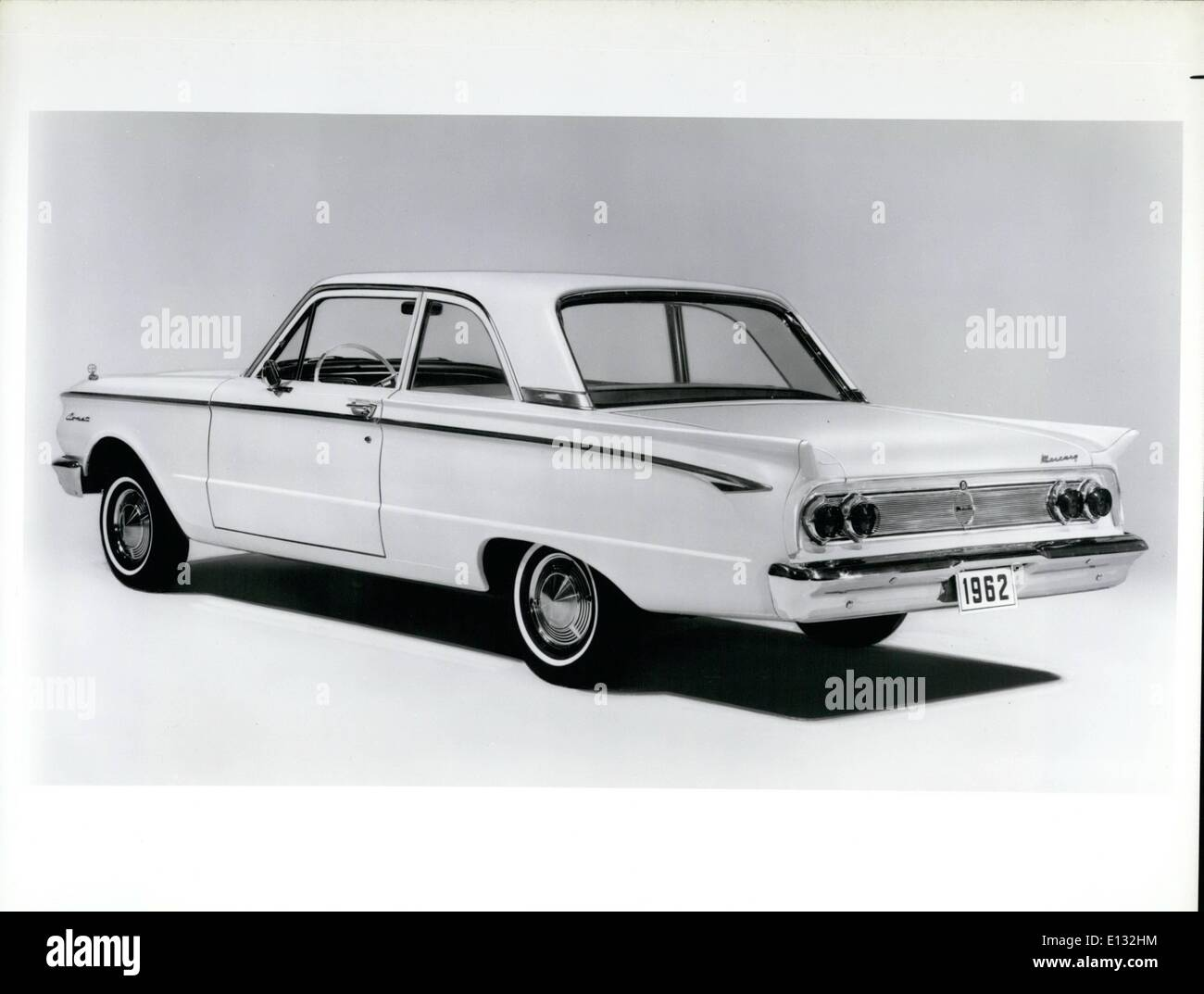 Feb. 26, 2012 - The Mercury Comet for 1962 has significant rear-end styling changes but continues to offer the same features that have made it a strong competitor in the compact market. The Comet name has been altered to reflect its membership in the broadened Mercury line for 1962. Rear fins have been tapered down and new taillights are set in pairs on a bright metal applique. A new spear molding distinguishes the side appearance. Sound deadening material has been nearly doubled to isolate the driver and passenger compartment - Stock Image