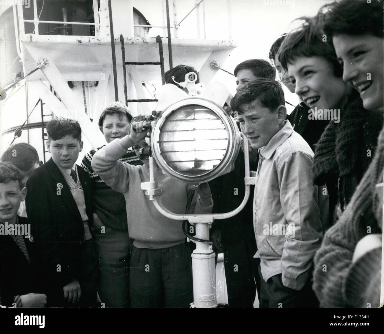 Feb. 26, 2012 - Working the Morse lamp - a class on the bridge. - Stock Image