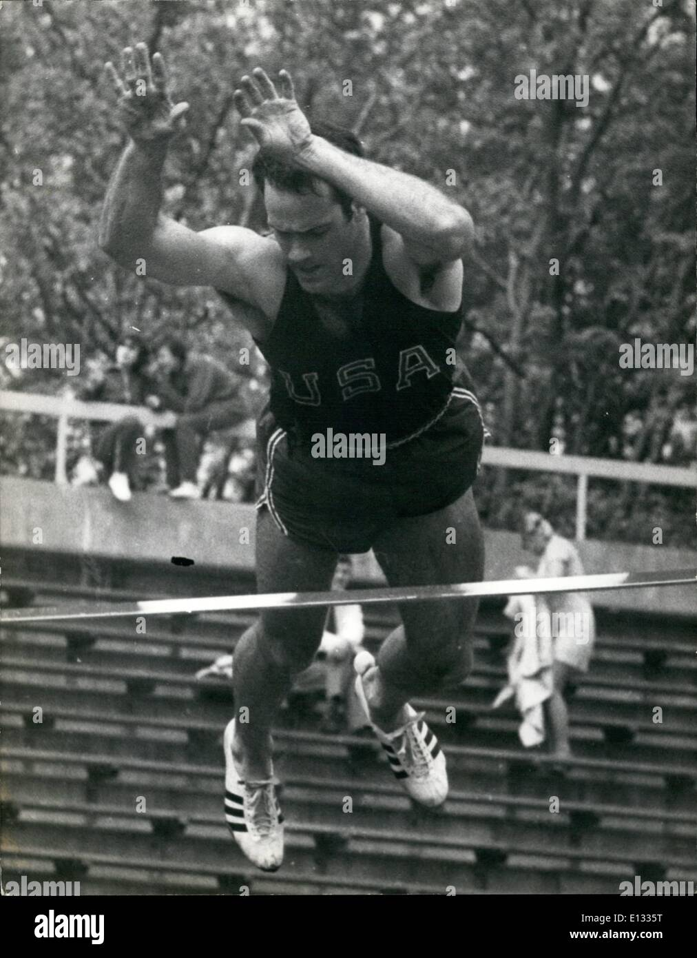 Feb. 26, 2012 - August 10th 1968 Athletics at Crystal Palace.  Photo Shows: Bill Toomey U.S.A. seen competing in the P - Stock Image