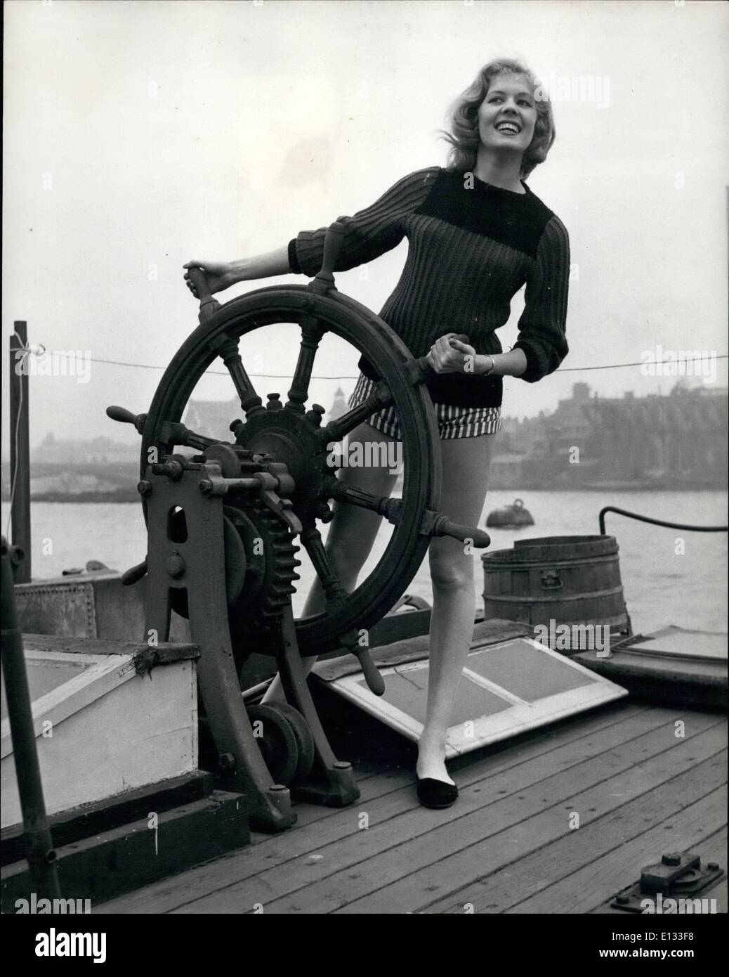 Feb. 26, 2012 - Just in case she gets the wanderlust, Yvonne Agard puts in a bit of practise at the ship's wheel. - Stock Image