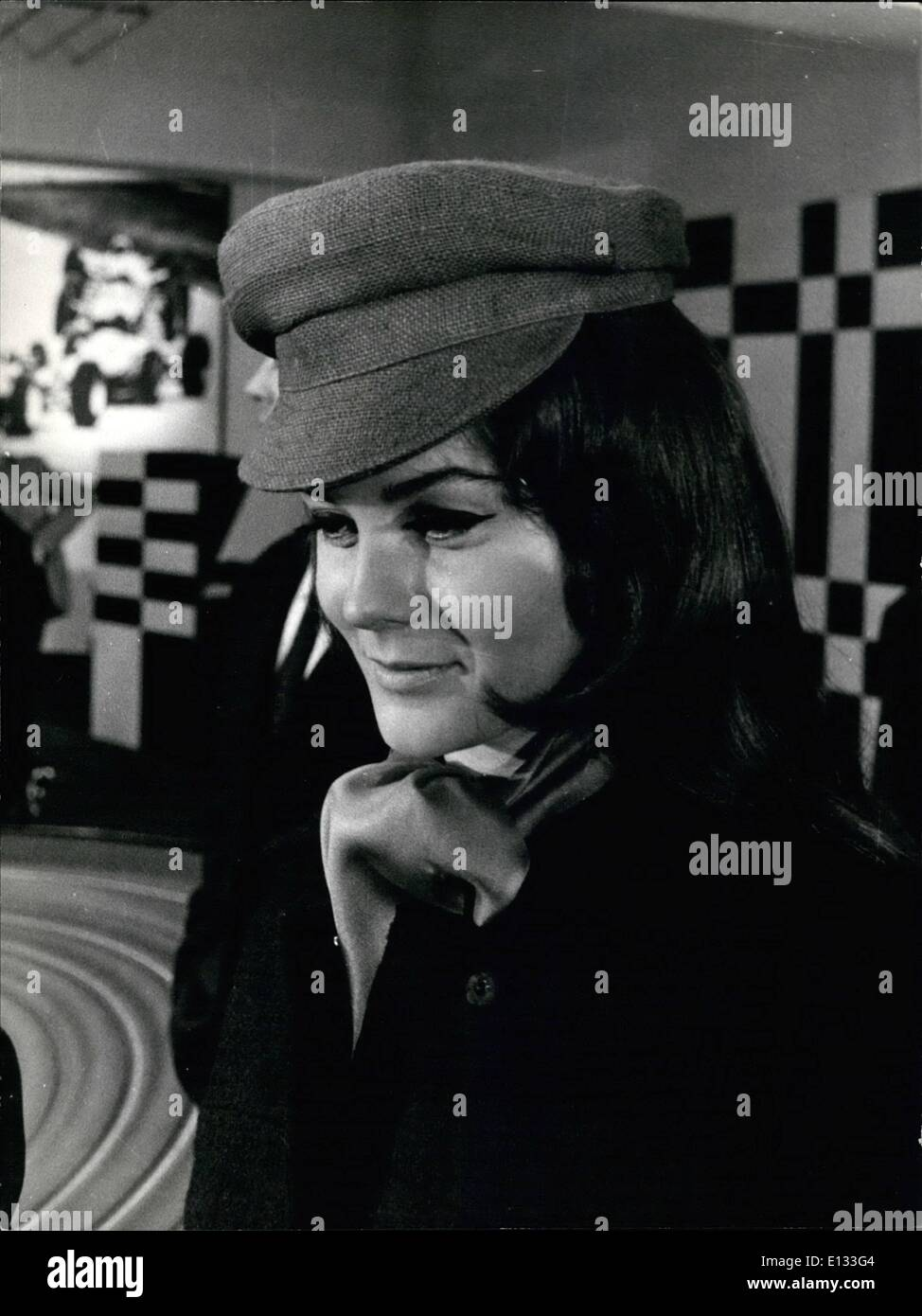 Feb. 26, 2012 - Rome, February 1967. Beautiful Hollywood actress Ann Margret, is now in Rome for a film titled The Tiger , co-starring Vittorio Gassman, and directed by Dino Risi. Ann Margret was once a rumoured girlfriend of Eddie Fisher. More recently, she had been linked with Elvis Presley. OPS: Ann Margret turns The Tiger inside the racing carà - Stock Image