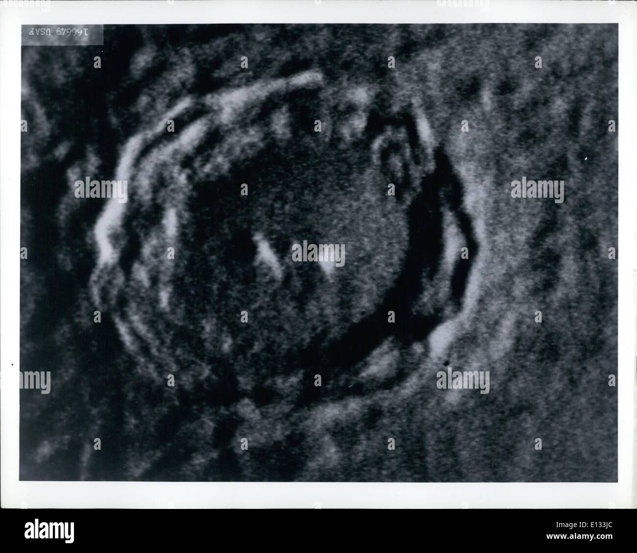 Feb. 26, 2012 - USAF - Crater Copernicus - This particular crater on the moon's surface is known as Copernicus, named for the Dutch astronomer. The center is 50 miles across. - Stock Image