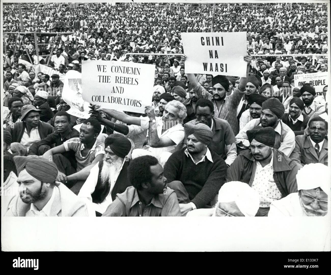 Feb. 26, 2012 - Loyal Demo: A large cross section of the estimated total of 30,000 people who turned out in full force on Wednesday, 11 August, 1982, in Nairobi's Uhuru Park to demonstrate their support for President moi, Kanu, and the government of Kenya after the abortive coup attempt by men of the Kenya Air Force, on August 1982, it included a significant representation of Asians, who were badly hit by the breakout of lawlessness during theshort-lived coup bid. - Stock Image