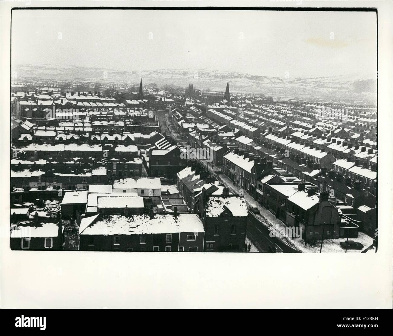 Feb. 26, 2012 - Looking over the Stronghold Catholic area of New Lodge Road in Belfast - Stock Image