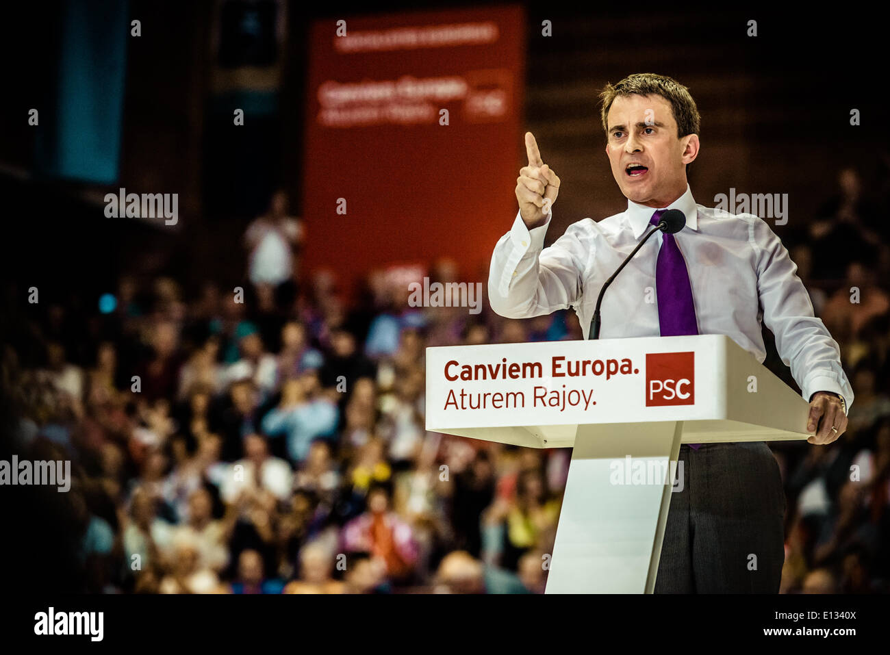 Barcelona, Spain. May 21st, 2014: Manuel Valls, Prime Minister of France, speaks at the central election meeting of the Catalan socialists in Barcelona Credit:  matthi/Alamy Live News - Stock Image