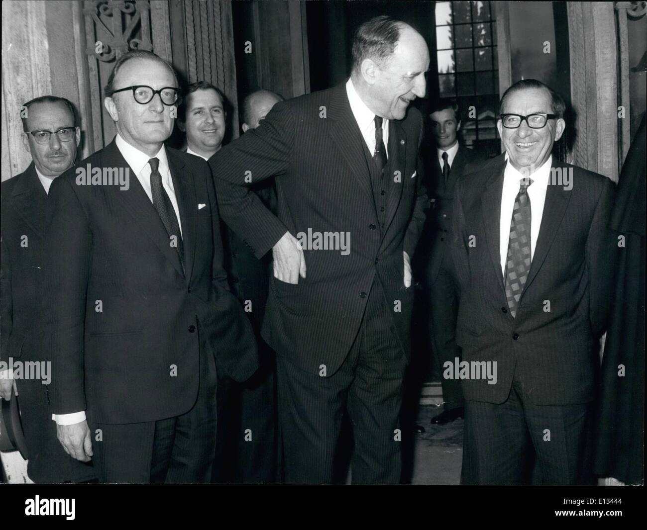 Feb. 26, 2012 - The talks to solve the crisis of Malta have followed today in Roma in the Villa Madama. Photo shows from left Britain's defense secretary Lord Carrington, Nato Secretary General Jospeh Luns and Maltese Premier Dom Mintoff. - Stock Image