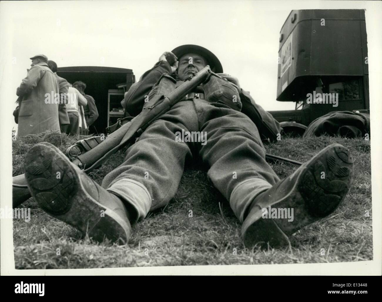 Feb. 26, 2012 - The ''Corporal'' relaxes. Rubber soles take the place of Hobnails.: He is Corporal - but a very important one - - Stock Image