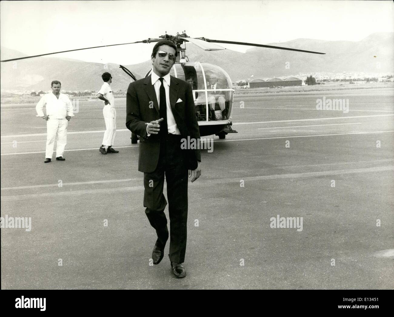 Feb. 26, 2012 - Alexander Onassis posed with his private helicopter at the Athens Airport, the place where he was killed in January 1973 when his plane was crashed soon after it had taken off. - Stock Image